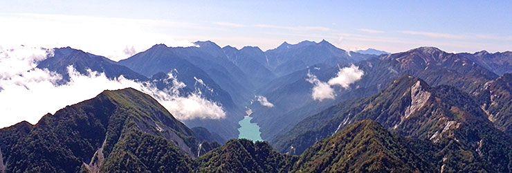 針ノ木岳山頂からの眺め